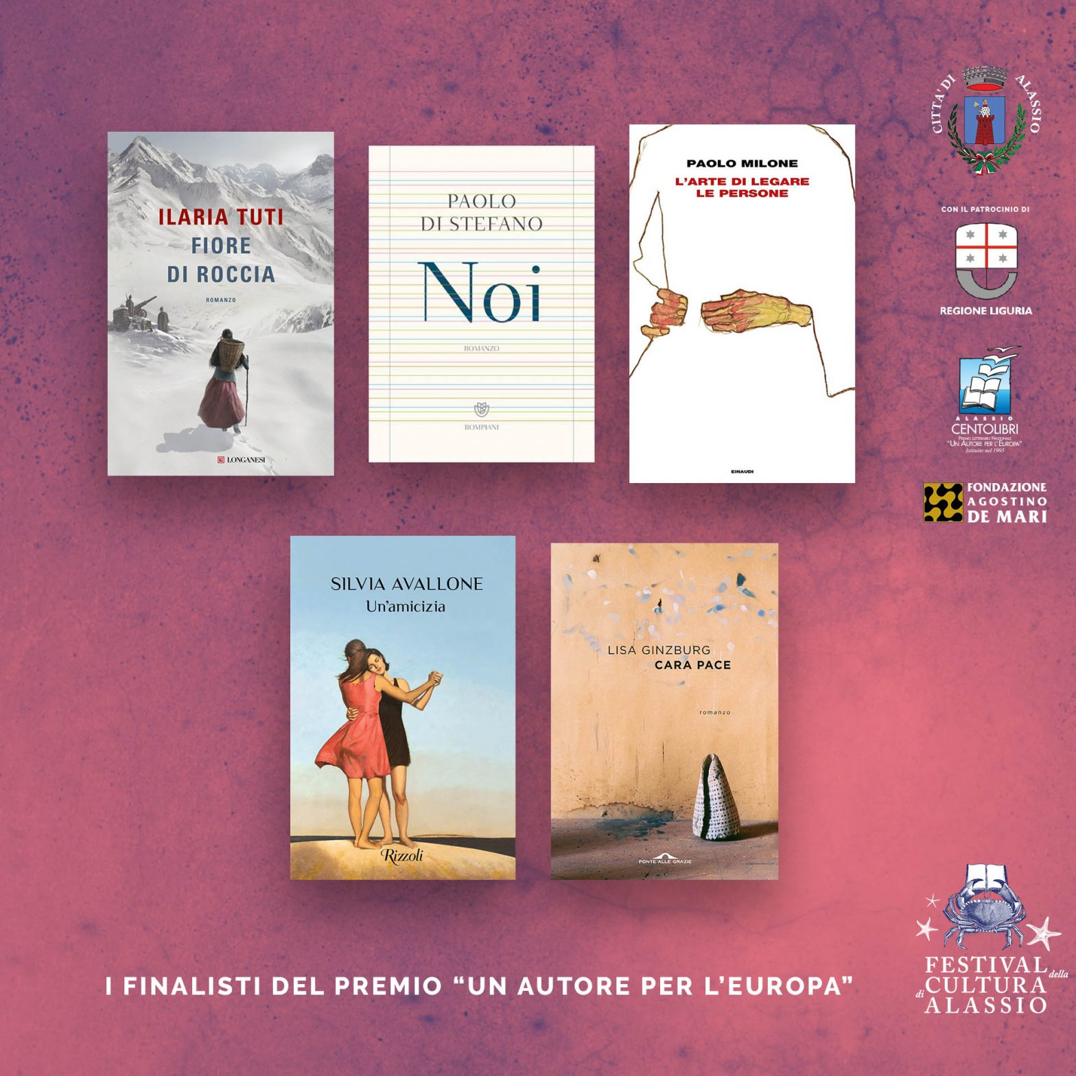 i nomi dei cinque finalisti della 27° edizione del Premio Letterario Nazionale, Alassio Centolibri